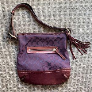Coach Suede Leather Shoulder Slim Bag Style 9362